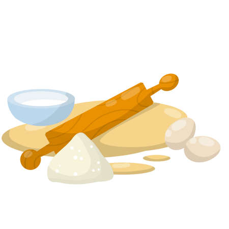Rolling pin and dough. Wooden appliance for kitchen and cooking. Cartoon flat illustration. Preparation of bread and pastries. Set of Ingredients-flour, milk, egg. Kneading dough