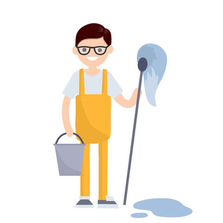 Cleaner in an orange jumpsuit. Service worker with MOP and bucket. Wet cleaning from dirt and dust. Blue puddle of water on the floor. Kind of profession men. Cartoon flat illustration.