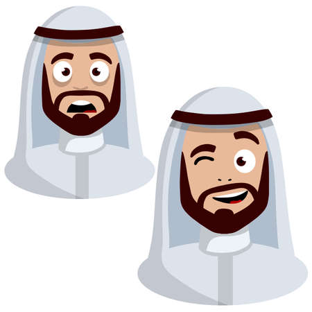 Smiling and sad face of Arab man in white national dress. Avatar for social network. Middle Eastern guy with a beard. Cartoon flat illustration 일러스트