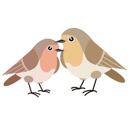 Set of Nightingale. Four Bird. Wild animal. Winged songbird. Cartoon flat illustration