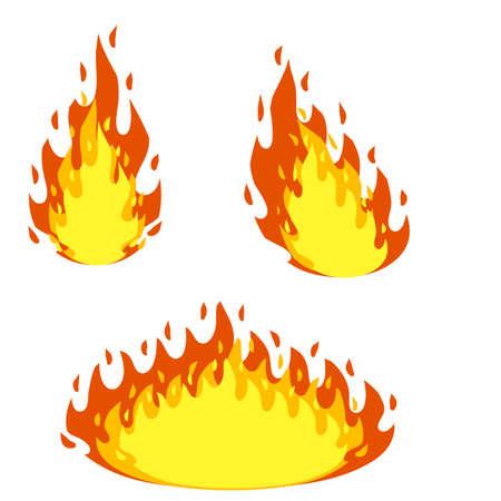Red flame set. Cartoon flat illustration. Fireman's job. Dangerous situation. Fire element. Part of bonfire with heat