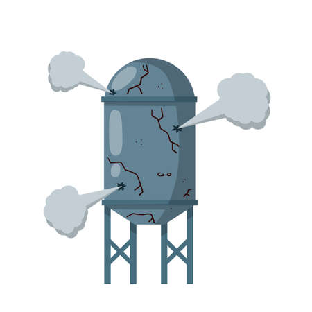 Cartoon flat illustration. Overloaded steam boiler. Accident, explosion and smoke. Grey Tank. Sanitary engineering