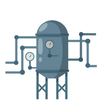 Cartoon flat illustration. Element of house, bath and toilet system. Grey tank with pipes and dial Vector Illustration