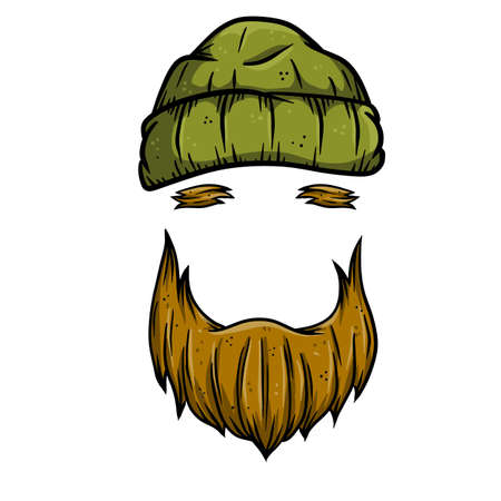 Fashionable men's haircut. Element of head and face hipster. Brown hair guy. Hair and beard. barbershop Fashion and style. Green warm hat of sailor and lumberjack. Hand drawn color illustration