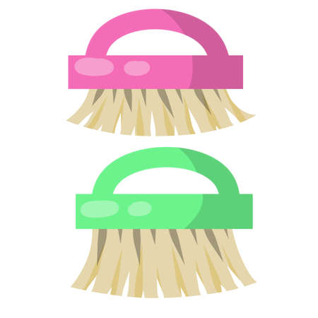 Brush for wet house cleaning and sweeping. item for combing horse. Cartoon flat illustration. Object for homework. Stock Illustratie