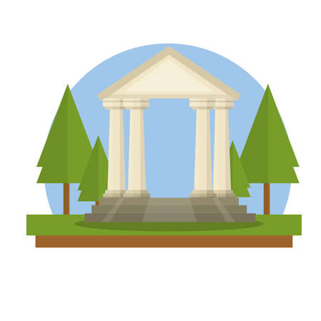 Ancient Greek and Roman building with stairs, white columns and pediment. Old temple to pagan gods. Cartoon flat illustration. European architecture and attractions