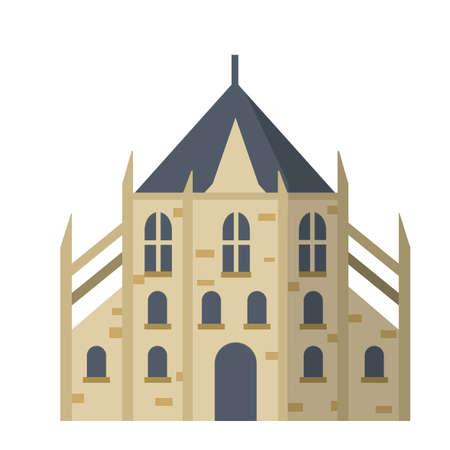 Catholic Old medieval European Church. 矢量图像