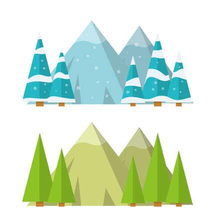 Different weather seasons. Natural landscape and environment. Green tree. Cartoon flat illustration. Ilustracje wektorowe