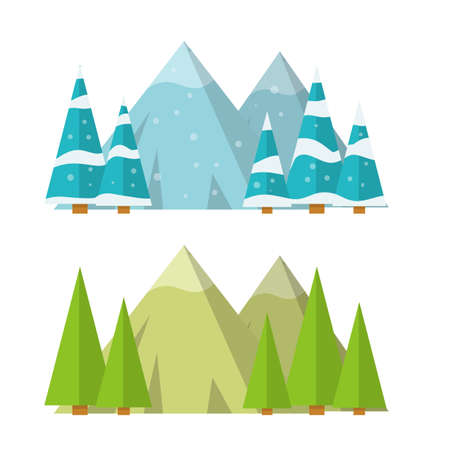 Different weather seasons. Natural landscape and environment. Green tree. Cartoon flat illustration. Vetores