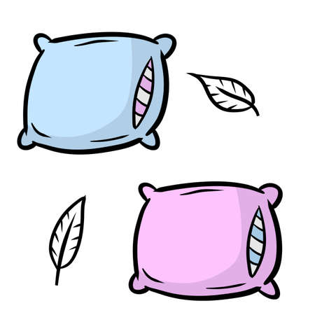 Set of pillows. Large and small object. Cartoon flat illustration. Soft colored cushions in blue and pink. Element of bedroom and bed for sleep