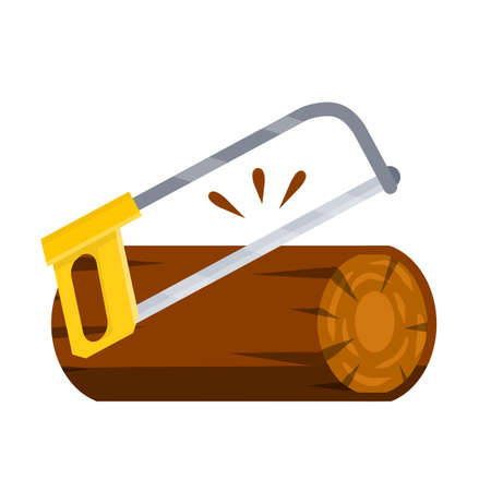 Saw cuts wood. Tool of lumberjack. Care of forest. Woodcutter operation. Harvesting of logs. Rural object. Yellow chainsaw. Flat cartoon illustration 일러스트