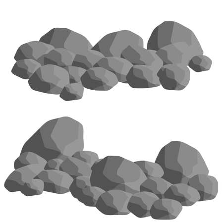 Set of gray granite stones of different shapes. Flat illustration. Minerals, boulder and cobble. Element of nature, mountains, rocks, caves Ilustracje wektorowe
