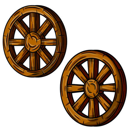 Set of old wooden cart wheels. Brown Detail of wagon with cracks. A village vehicle in the wild West. Hand drawn cartoon illustration