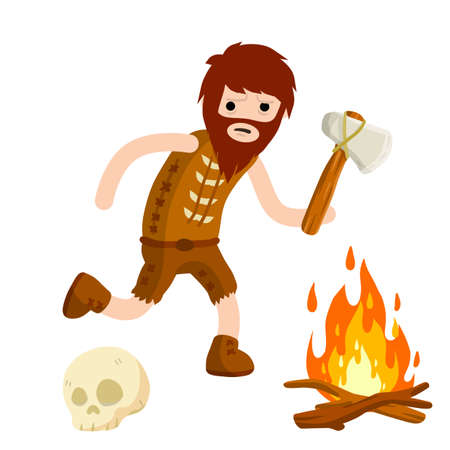 Primitive caveman. Prehistoric hunter. Stone age. Man with an ax or a hammer. Tribal items. Concept of history and archeology. Cartoon flat.