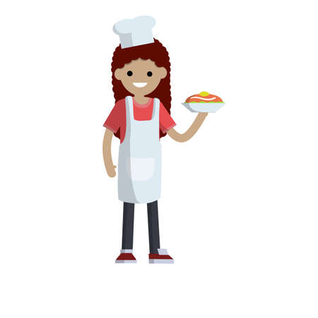 Woman in white apron stands with plate in hand. Delicious dish and cake. Young adult Girl preparing meal in kitchen. Waiter and cook in restaurant and cafe. Cute housewife in kitchen. Flat cartoon Ilustracja