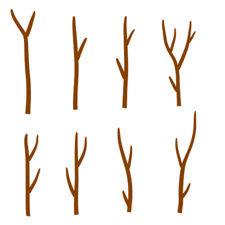Tree branch. Set of different brown sticks. Cartoon flat illustration. Element of nature, forest or Park isolated on white
