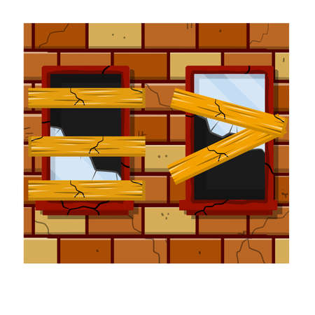 Shards and sharp parts in frame. Brick wall and vandalism. Destruction and ruin. Cartoon flat illustration