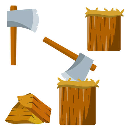 Chopping. Logger ax and log. Timber harvesting. Fuel wood. Lumberjack and woodcutter element. Set of tools. Cartoon flat illustration
