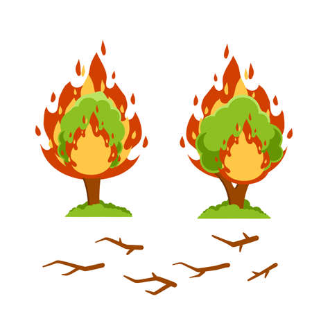 Forest fire. Natural disaster. Woodland problems. Dangerous situation. Careless handling of fire. Tree and flame. Flat cartoon. Branches and wood