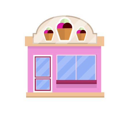 Ice cream shop with sign. Sweet dessert. Little business. building store and coffee. Urban landscape. Buying and selling food. Summer season. Cartoon flat illustration.  イラスト・ベクター素材
