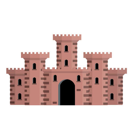 Medieval European stone castle. Knight's fortress. Concept of security, protection and defense. Cartoon flat illustration. Military building with walls, gates and big tower.