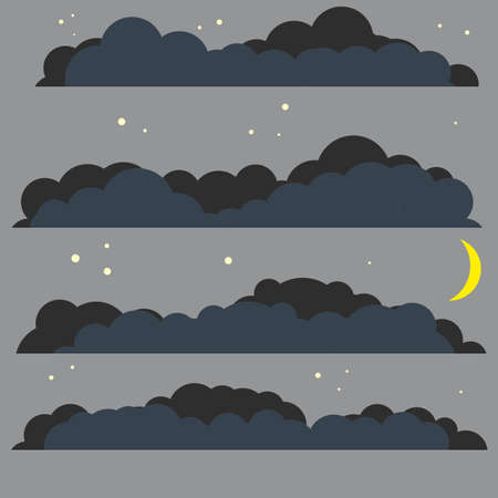 Dark bubble clouds from the sky. Set of nature Element of different shape and weather conditions. Bad rainy autumn weather. Cartoon flat illustration. Moon and star