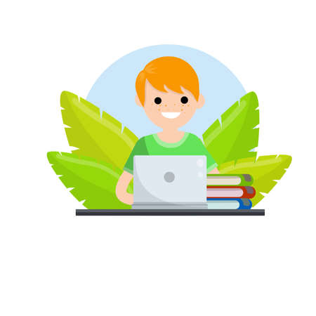 Man sit at table with laptop. Concept of Education. Cartoon Flat cartoon. Teaching and learning. Green plant leaves.