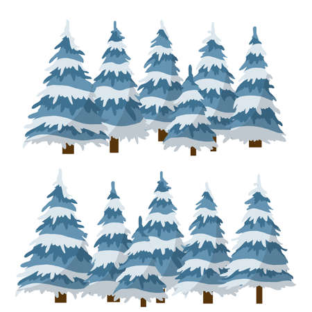 Set of winter tree. Element of nature and forests. Cartoon flat illustration. Snow on branches. Cold season