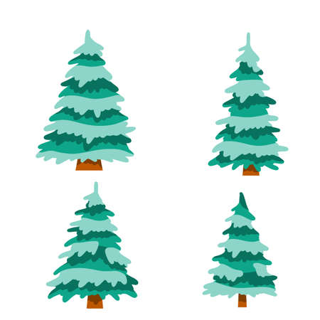 Cartoon flat illustration. Snow on branches. Cold season. Green plant