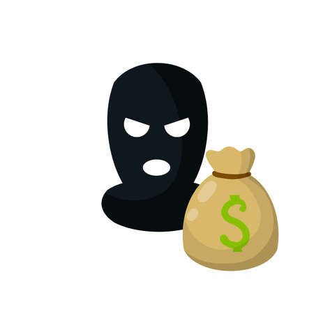 Bag of money and dollar sign. Icon for crime and security issues. Cartoon flat illustration