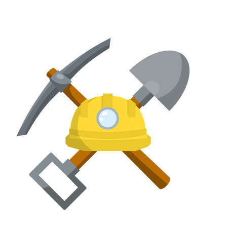 Pick and shovel. Miner and digger tool. Items for extraction of minerals. Logo of Labor and work. Rural tool. Iron pickaxe. Cartoon flat illustration. Industrial yellow helmet with flashlight Illusztráció