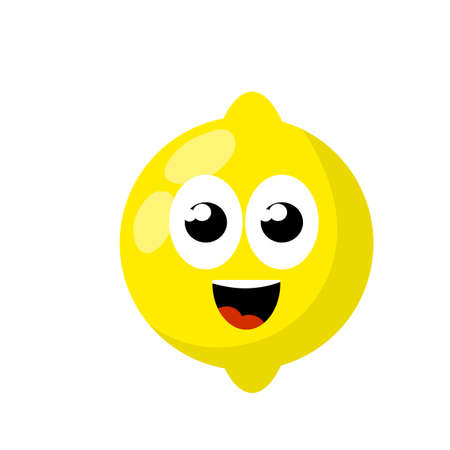 Mascot and emotions. Funny and cute yellow element. Cartoon flat illustration. Lemon with face. Eyes, mouth on sour fruit.