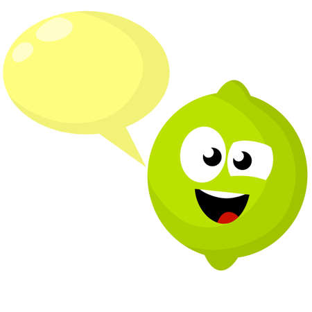 Lime with green face. Funny sour character. Smile and emotion. Healthy fruit with vitamin C. Mascot of product. Cute cartoon flat illustration. Blank bubble for text