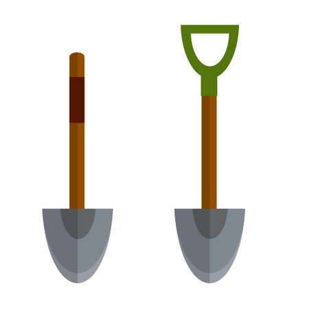 Shovel. Element of farms and villages. Wood brown tool. Cartoon flat illustration. Digging hole.