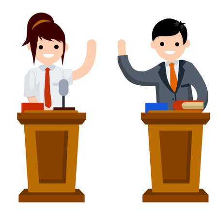 Presidential debate. Dialogue between man and woman behind the podium. speech of lecturer at lectures. Controversy girl and guy in suits. Red vs blue. Flat cartoon. Political election and voting
