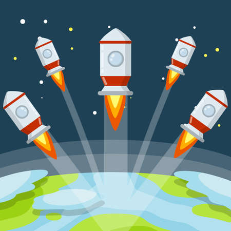 Rocket. Launch of spaceship. Flight into space. Red and white spacecraft. Takeoff from the planet. Start to earth Orbit. Flat cartoon illustration 向量圖像