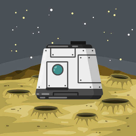 Lunar module of Spacecraft and living quarters. Future and science. Colony base of astronaut on Moon. Flat cartoon. Space flight and modern colonization technologies