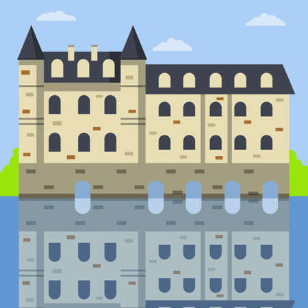 Castle of Chenonceau. French tourist attraction. Travel to Europe. Stone Palace with tower and wall. Medieval house and city. Flat cartoon illustration