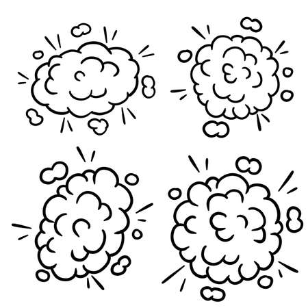 Comic bubble cloud. Cartoon black and white illustration. Set of Funny smoke and steam. An abstract element of movement