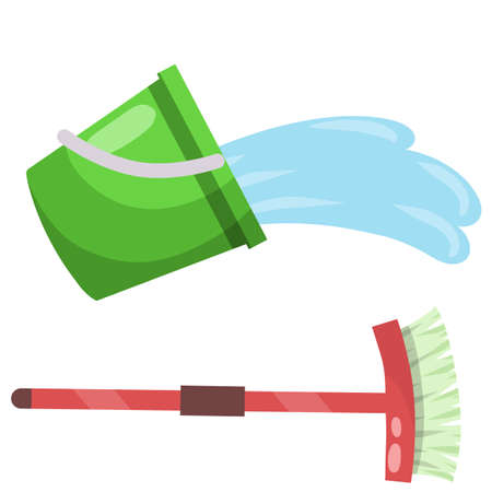 Set of items for cleaning the house. Green bucket, MOP, brush. Housekeeping and cleanliness. Cartoon flat illustration