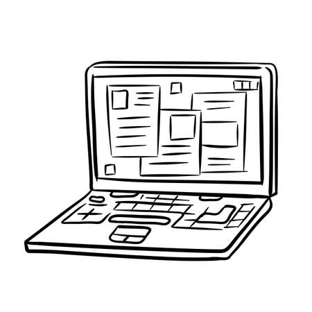 Laptop. Modern computer. Open window with the program and application. Ilustração
