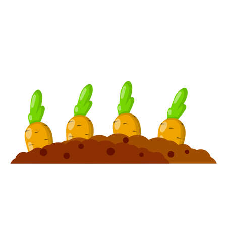 Bed with the carrot. Cartoon flat illustration.