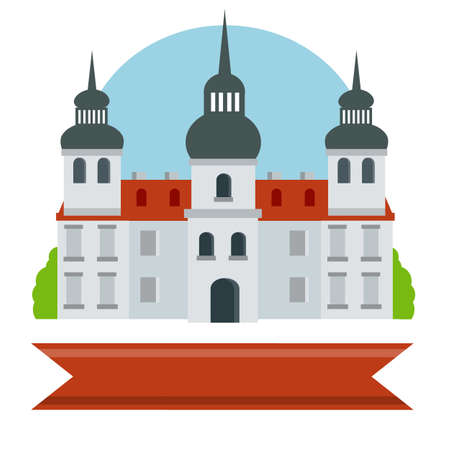 Old Medieval University. Building in Baroque style. House of monastic order. Historic center. Jesuit College. Tower, Palace and castle. Flat European architecture