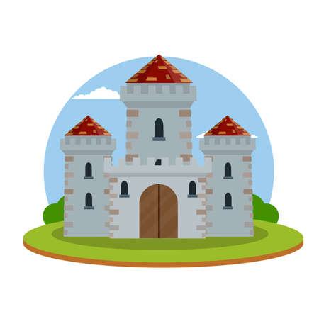 Medieval castle. Old fortress. European architecture and city center. Military building of knight and king. Defense and reliability. Tower, wall and gate. Cartoon flat illustration. Green landscape