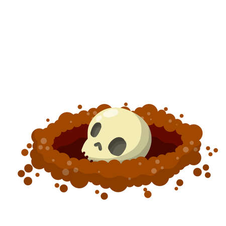 Hole in ground. Skull and bone of man in grave. Skeleton, burial and entombment. Scary element of Halloween. Cartoon flat illustration. Archeology and excavations 向量圖像
