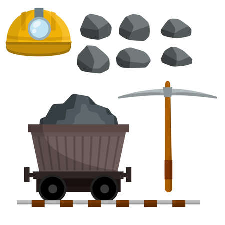 Set of objects of miner. Builder helmet with lamp, pickaxe, stones, cart on rails with coal and ore. Technical work in mine. extraction of minerals in quarry, pit.