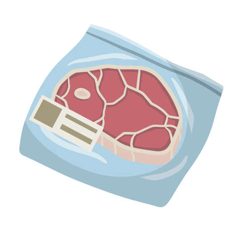 Packaging of frozen red meat. ham in bag. Cartoon flat illustration. Set of supermarket products. Cold object