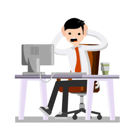 Man holding his head. Broken equipment. Broken computer. Crash the system. Office Crazy scared boss behind the monitor. Confused businessman. Cartoon flat illustration