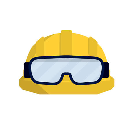 Yellow helmet worker. Safety glasses Builder. Cartoon flat illustration. Repair and engineering works. Clothing for safety of production. Industrial object Ilustración de vector