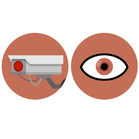 Video surveillance camera. Security footage set. White CCTV device with red lens. Cartoon flat illustration. Safety and security. Human eye icon. control and monitoring in circle Vector Illustration